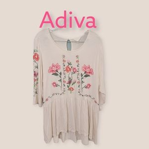 Adidas Bohemian Emborded Floral Top Size 1X